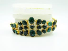 Bo'Bell Indo-Western Mix Faceted Green Quartz Natural Stone Choker Necklace