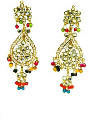 Bo'Bell Mix Kundan Beads Colorful Exquisite Navratna Earring Set