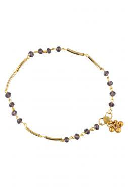 Bo'Bell Delicate Golden Purple Glass beads  Charm Anklet