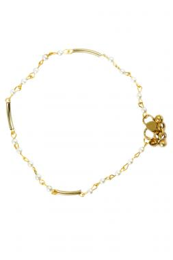 Bo'Bell Delicate Golden Pearl Charm Anklet