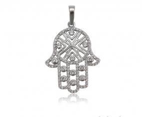Bo'Bell Divine Hamsa Happy Fortune Sterling Silver CZ Diamond Pendant/SILVER