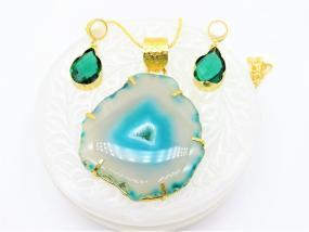 Bo'Bell Sea Blue Aqua Solar Slice Natural Stone Pendant Set