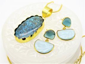 Bo'Bell Designer Oval Cricocola Natural Stone Pendant Set