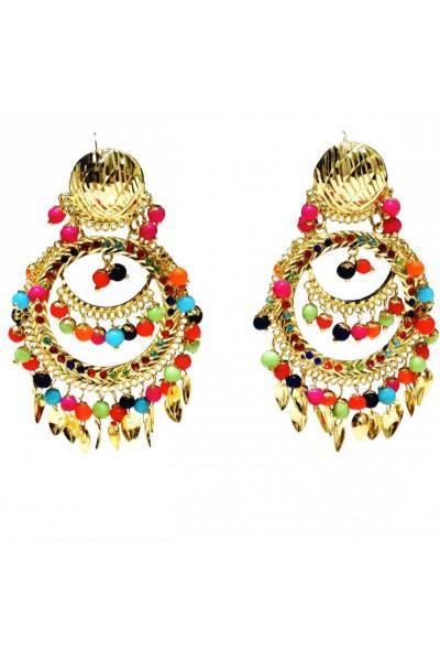 Bo'Bell Sassy Punjabi Colorful Fashionable Navratna Earring/MULTI