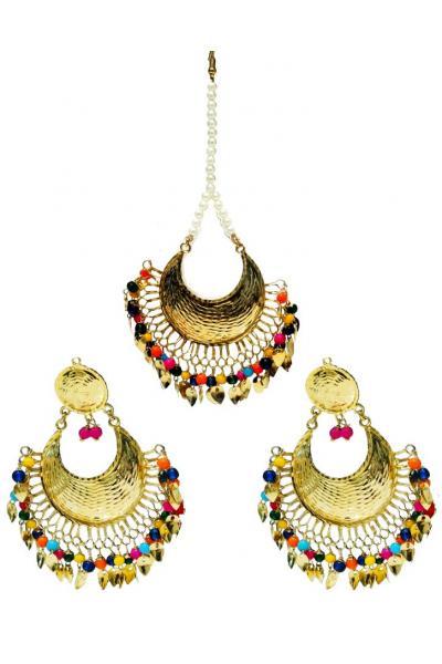Bo'Bell Sexy Bright Rainbow Colors Designer Fusion Navratna Earring Set/MULTI