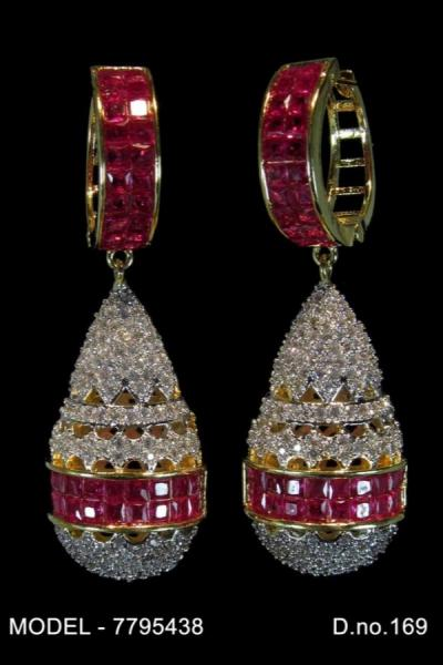 Bo'Bell AD & Ruby Tear Drop Bolly Indi Earring/GREEN