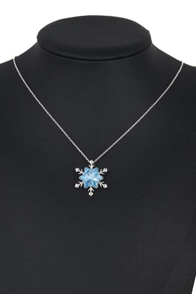 Bo'Bell Shimmering Blue 'Frozen' Snow Flake CZ Diamond Fashion Necklace