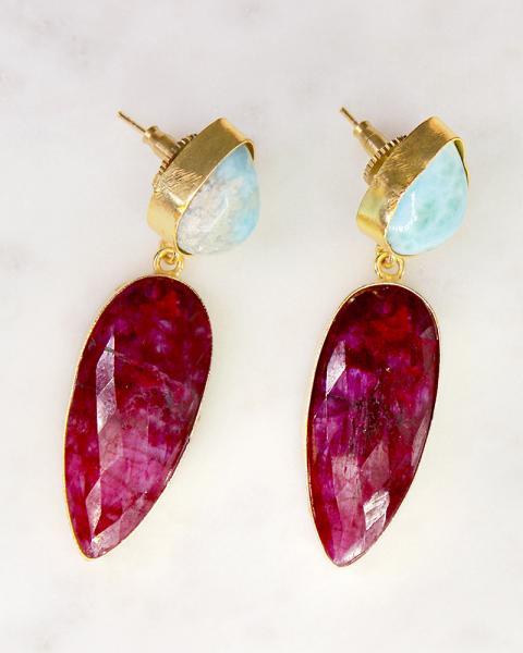 Aqua & Cranberry Danglers....