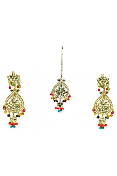 Bo'Bell Mix Kundan Beads Colorful Exquisite Navratna Earring Set/MULTI