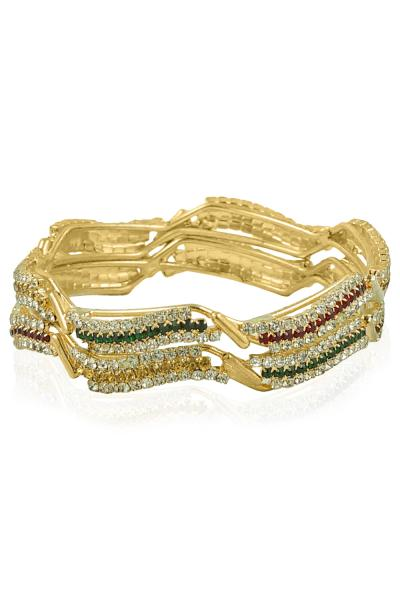 BO'BELL Gold Plated Multicolor Diamond bangles