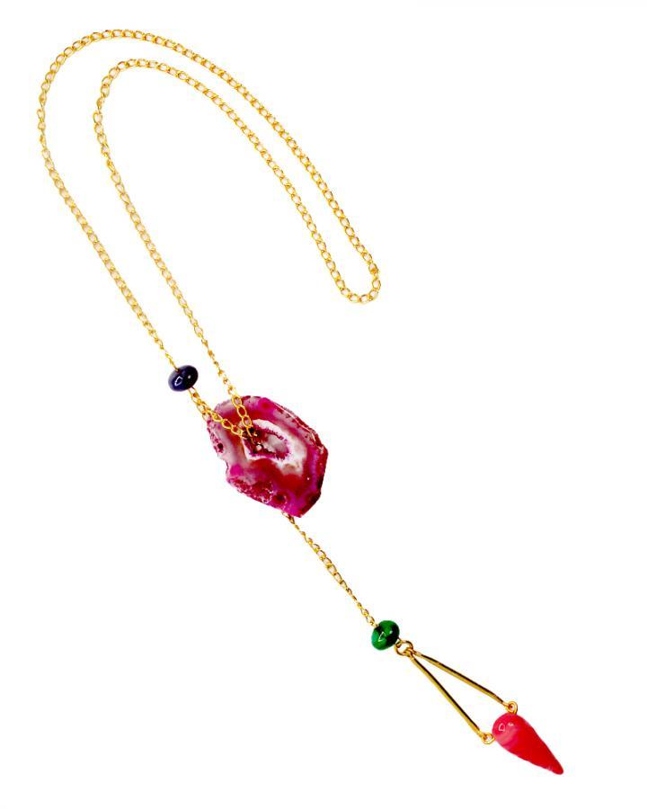 Zinnia Bloom Pendant Neckpiece