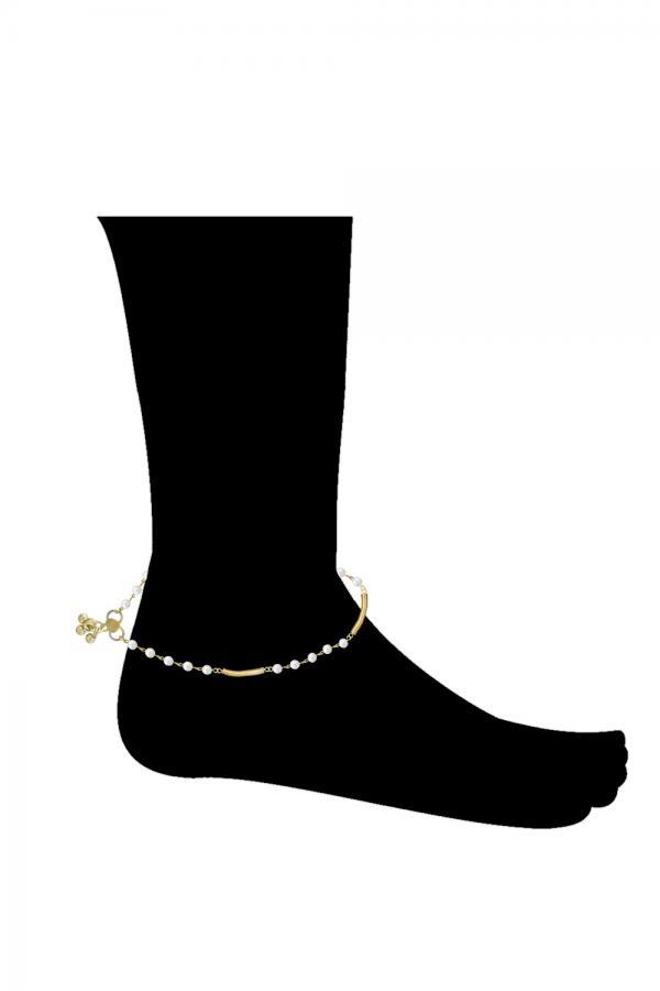 Bo'Bell Delicate Golden Pearl Charm Anklet/GOLDEN