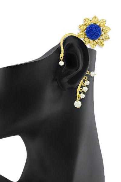 Bo'Bell Stylish Crafted Krishan Pankh Ear Cuff/ROYALBLUE