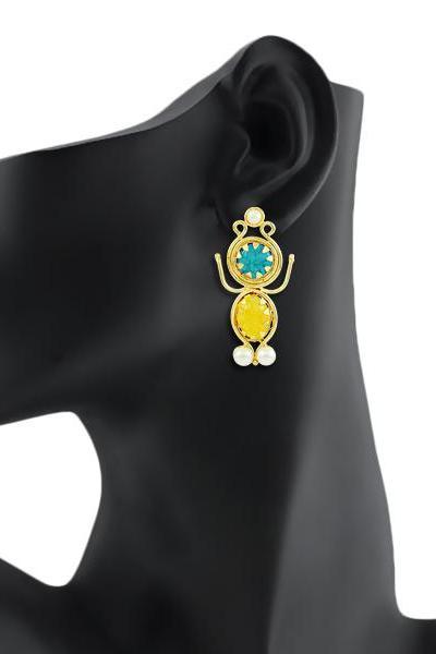 Bo'Bell Indi-Pop Gold Toned Designer Earring/MULTI