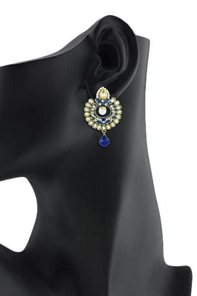Bo'Bell Bejeweled Kundan Designer Earring/BLUE