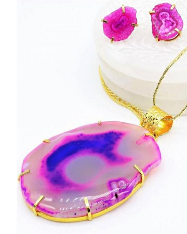 Pink Galaxy Pendant Set