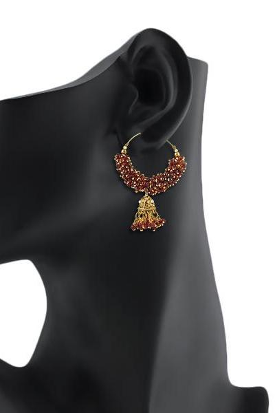 Bo'Bell Funky Stylish Ethnic Designer Earring/MAROON