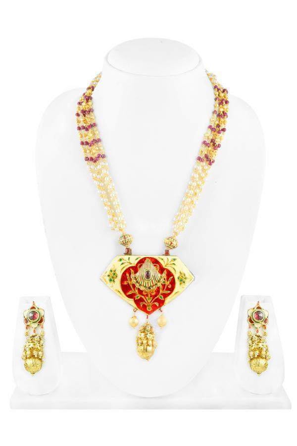 Bo'Bell Exquisite Feminine Glamorous Ethnic Necklace Set/WHITE