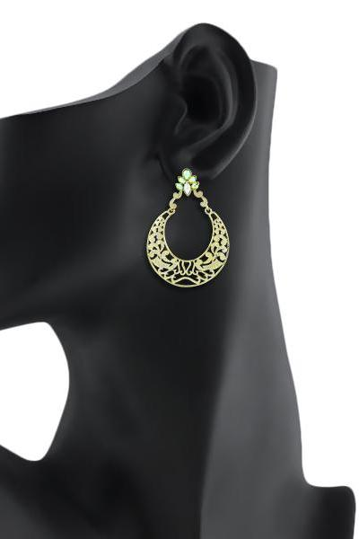 Bo'Bell Antique Bollywood Jhumar Traditional Earring/GREEN