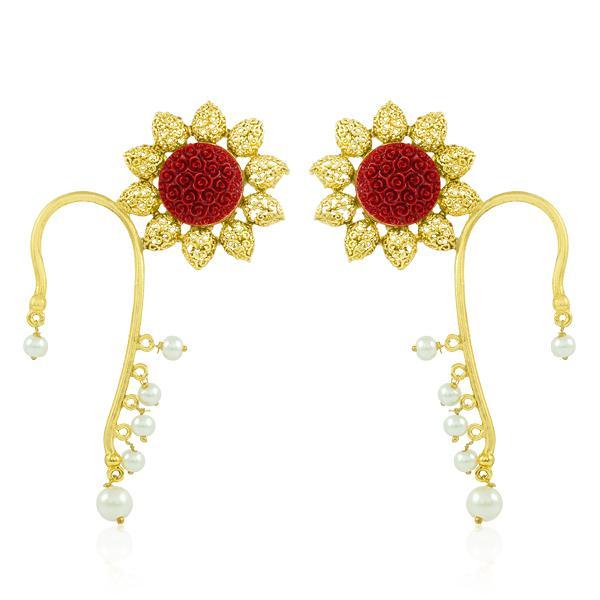 Bo'Bell Stylish Crafted Krishan Pankh Ear Cuff/MAROON
