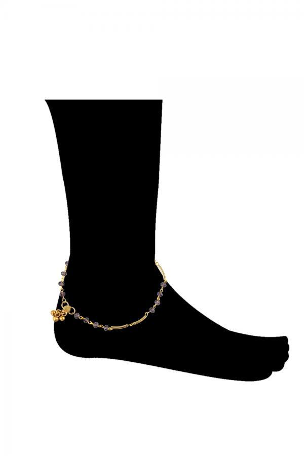 Bo'Bell Delicate Golden Purple Glass beads  Charm Anklet/PURPLE