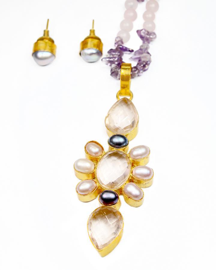 Amethyst Fern Necklace Set