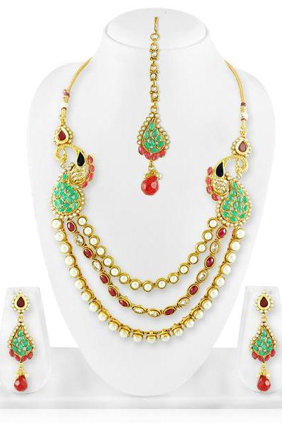 Bo'Bell Gold Tonned Victorian Indian Fusion Beads Morni Necklace Set/MULTI