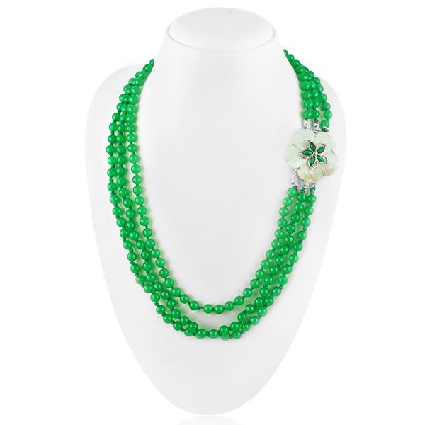 Bo'Bell Exquisite Green Malaysian Jade Tri-Strand Fashion Necklace/GREEN