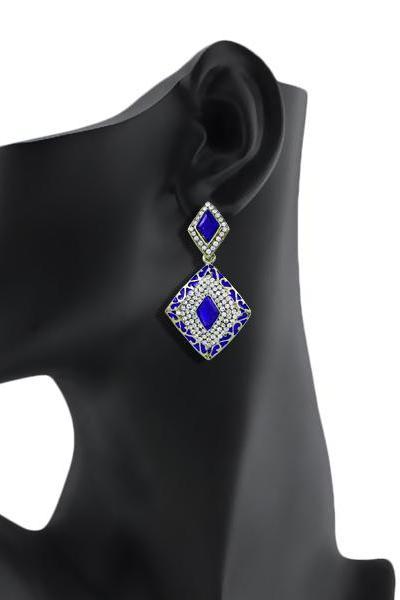 Light up your look with this kite shaped meenakari (enamel work) designer earring/BLUE