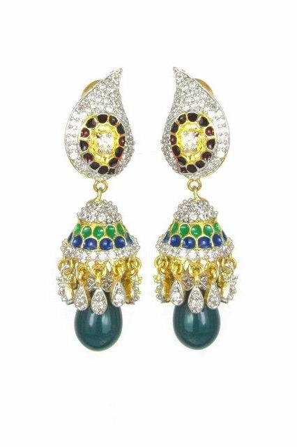 Bo'Bell AD Red Green Mango Indi Jhumki/DARKGREEN