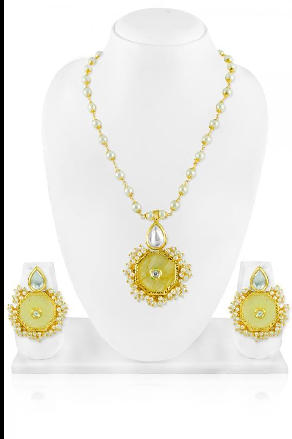 Bo'Bell Elegant Sophisticated Fashionable Necklace Set/YELLOW