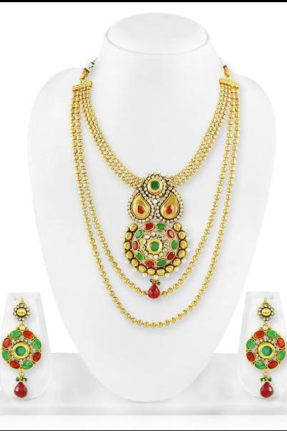 Bo'Bell Gold Tonned Fusion Indian Polki Beads Indian Necklace Set/MULTI