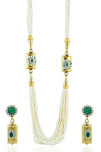 Bo'Bell Charming Rajwadi Indy Fusion Long Necklace Set/GREEN