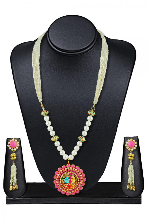 Bo'Bell Royal Ethnic Traditional God Necklace Set/WHITE