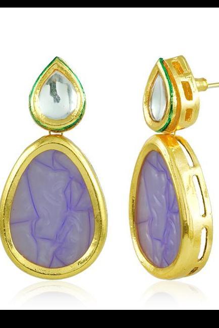 Bo'Bell Indian Bold Boondh Sheet Earring/PURPLE