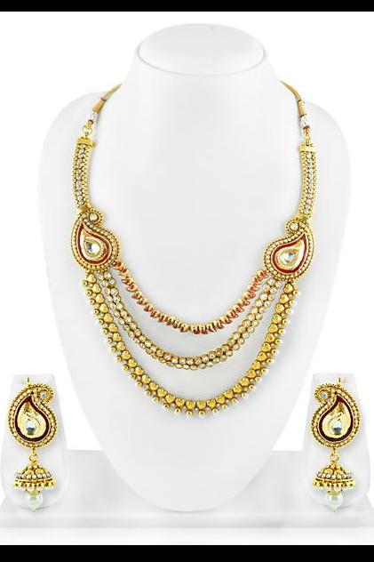 Bo'Bell Traditional Indian Rasrava Mango Gold Tonned Necklace Set/GOLDEN