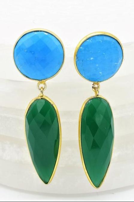 Cyan & Green Earrings
