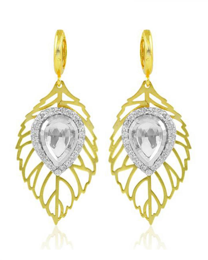 Bo'Bell Adorable Leafy Lazer Cut Designer Earring/WHITE
