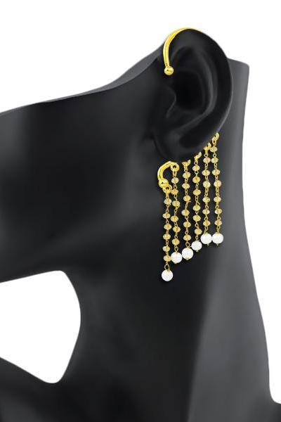 Bo'Bell Elegant Glitzy Crystal Trendy Ear Cuff/GOLDEN