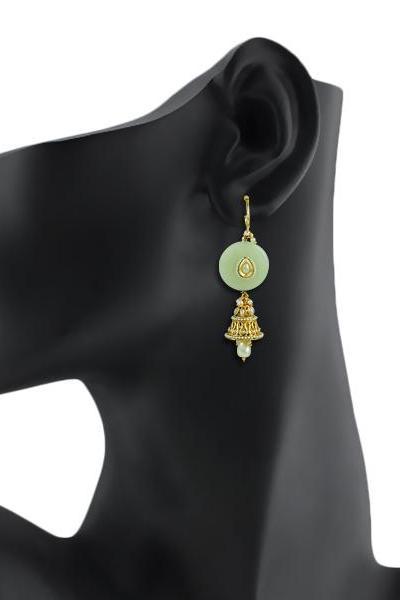 Bo'Bell Sassy Stone Indian Mixy Designer Jhumki/LIGHTGREEN