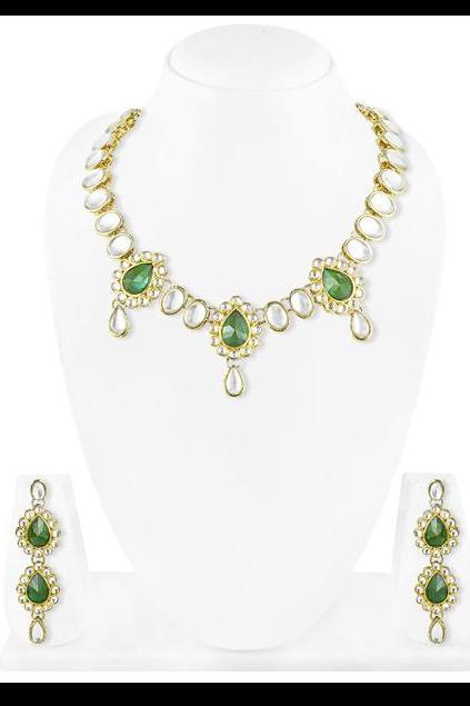 Bo'Bell Traditional Feminine Jaipuri Kundan Necklace Set/DARKGREEN
