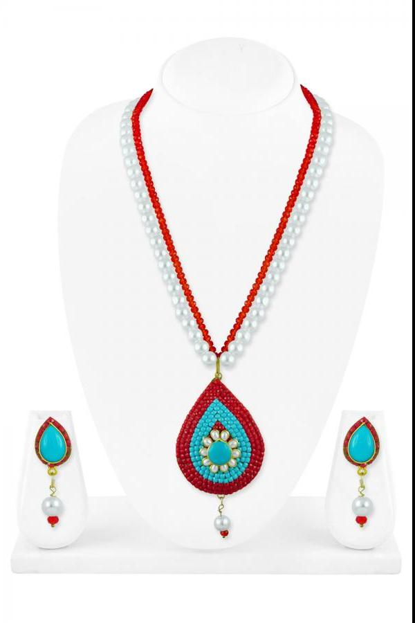 Bo'Bell Flawless Fusion Beautifully Beaded Necklace Set/RED