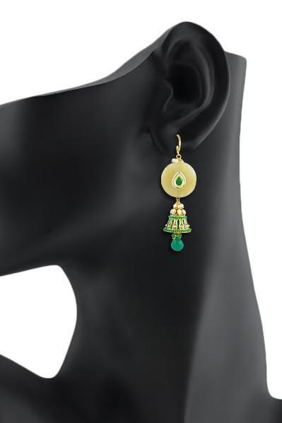 Bo'Bell Sassy Stone Indian Mixy Designer Jhumki/CREAM