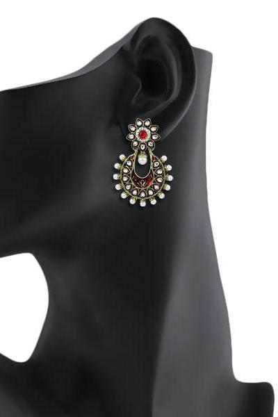 Bo'Bell Flattering Bolly Exotic Designer Earring/RED