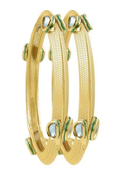 Bo'Bell Charming Leaf Drop Maharani Traditional Bangle/GOLDEN