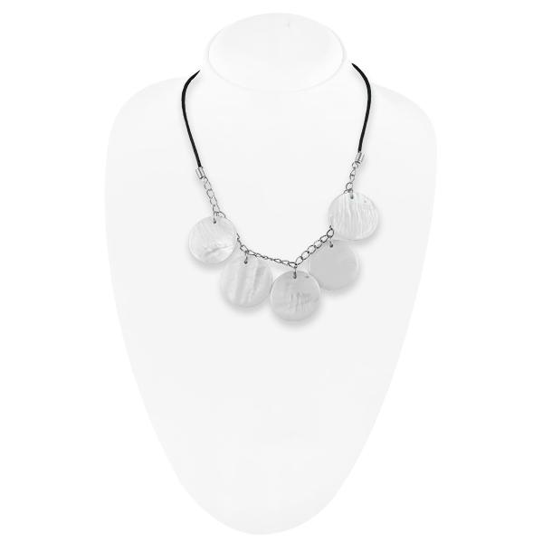 Bo'Bell Stylish Funky Abalony Shell Necklace/WHITE