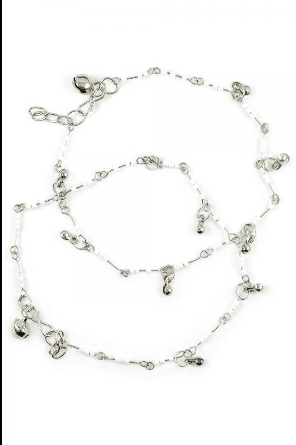 Bo'Bell White Bead Indo-Western Fusion  Anklet/SILVER