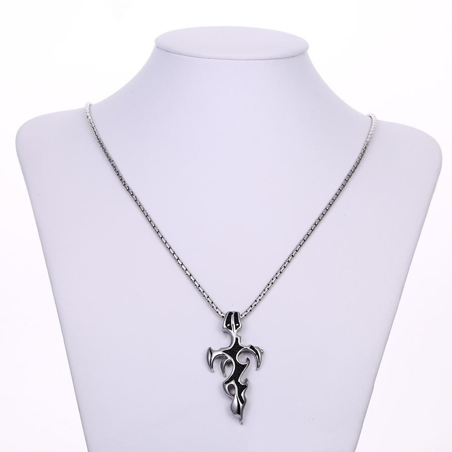 Bo'Bell Stainless Steel Cross Two-Toned Men's Necklace/BLACK
