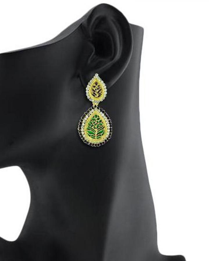 Bo'Bell Rajasthani Fusion Thewa Designer Earring/MULTI