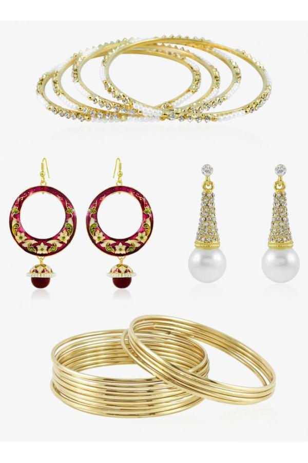 Bo'Bell Elegant Artisanal Meenakari (Enamel) Jewellery Combo/GOLDEN